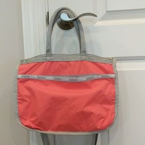 LeSportsac coral and gray purse